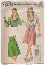 "1940's DuBarry Scoop Neck Blouse and Flare Skirt - Bust 33"" - No. 5836"