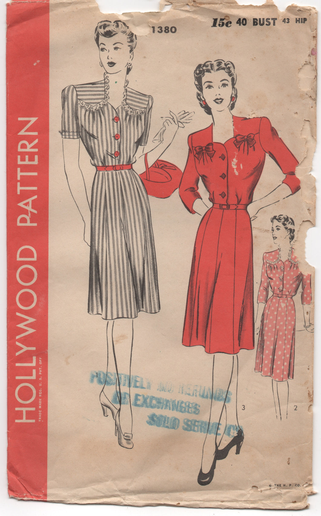 1940's Hollywood One Piece Dress with Yoke Detail - Bust 40