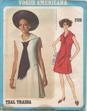 "1960's Vogue Americana One Piece Dress with Sailor Collar and Large Tie - UC/FF - Bust 36"" - # 2120"
