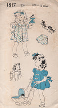 1950's New York Girl's One Piece Dress with Peter Pan Collar and Tie Back and Bloomers - 6 mths - No. 1817