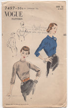 "1950's Vogue Blouse in Two Styles with High Necklines - Bust 34"" - No. 7497"