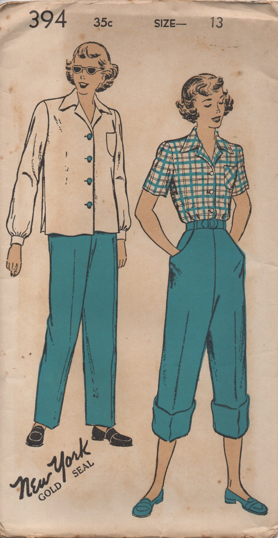 1940's New York Button up Blouse and High waisted Pants (Dungarees) - Bust 31