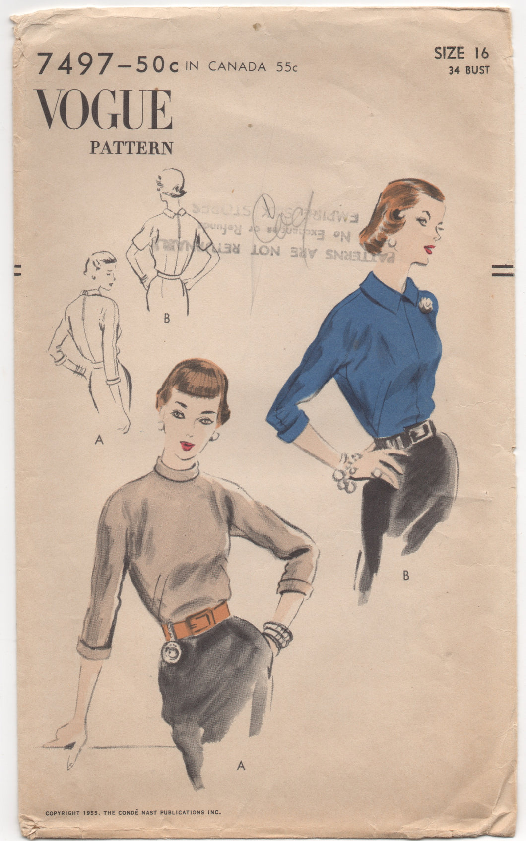 1950's Vogue Blouse in Two Styles with High Necklines - Bust 34