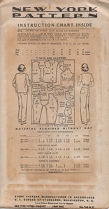 "1940's New York Button up Blouse and High waisted Pants (Dungarees) - Bust 31"" - No. 394"