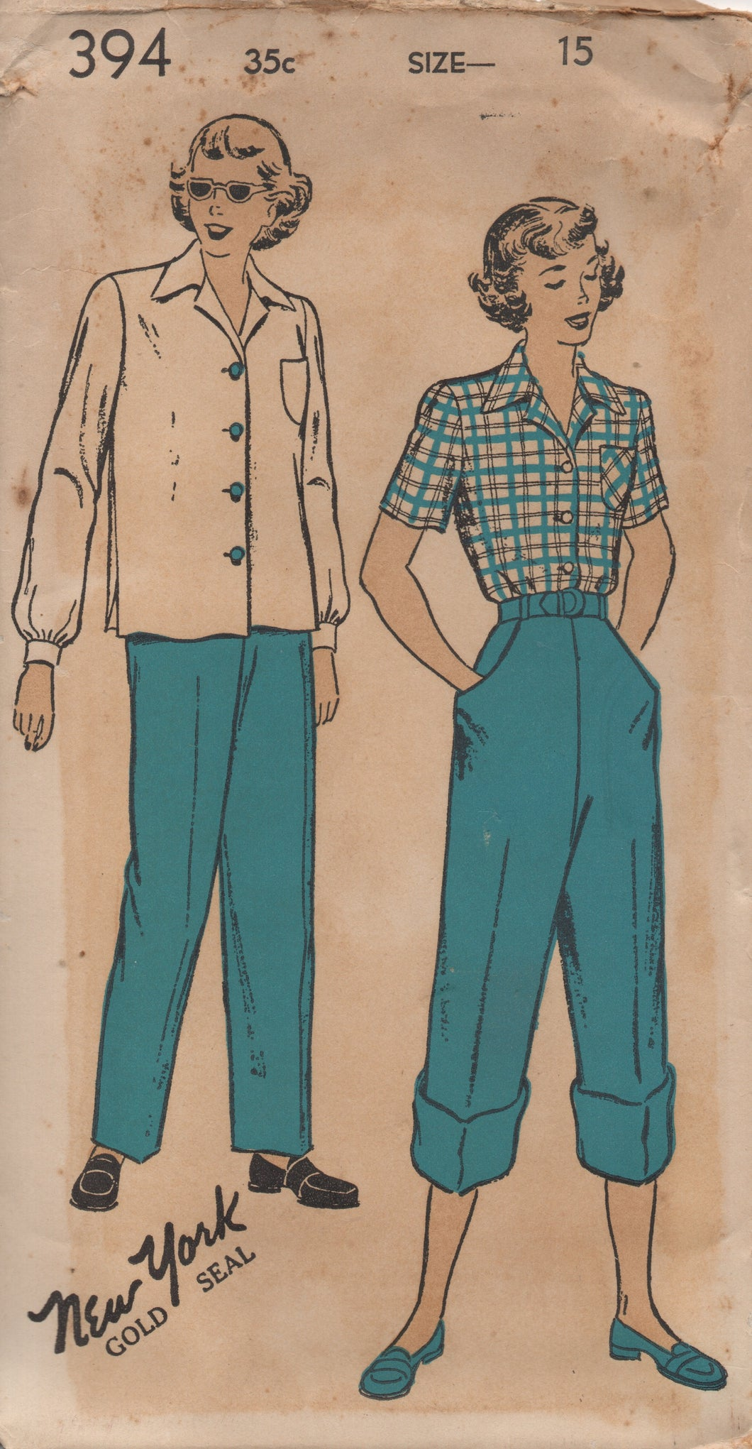 1940's New York Button up Blouse and High waisted Pants (Dungarees) - Bust 33