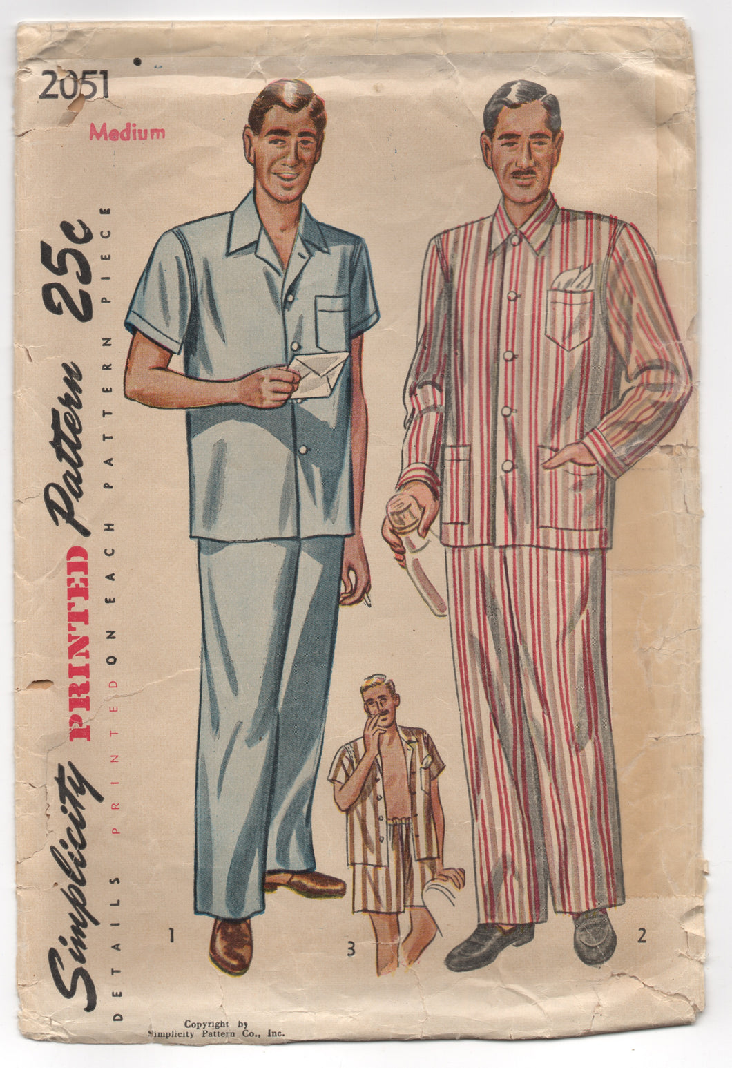 1950's Simplicity Men's Two Piece Pajamas with Shorts or Pants - Medium - No. 2051