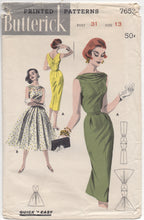 "1950's Butterick One Piece Wiggle or Full Skirted Dress with Draped Neckline - Bust 31"" - No. 7653"