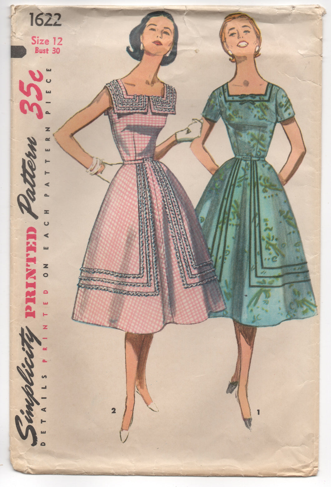 1950's Simplicity One Piece Dress with Square Collar and Ribbon Trim Detail - Bust 30