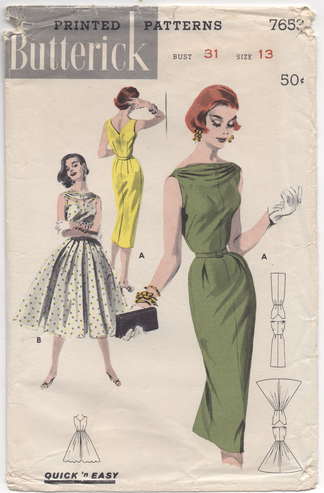 1950's Butterick One Piece Wiggle or Full Skirted Dress with Draped Neckline - Bust 31