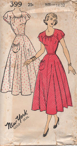 "1950's New York One-Piece Dress with Round Neckline and Flutter Sleeves - Bust 32"" - No. 399"