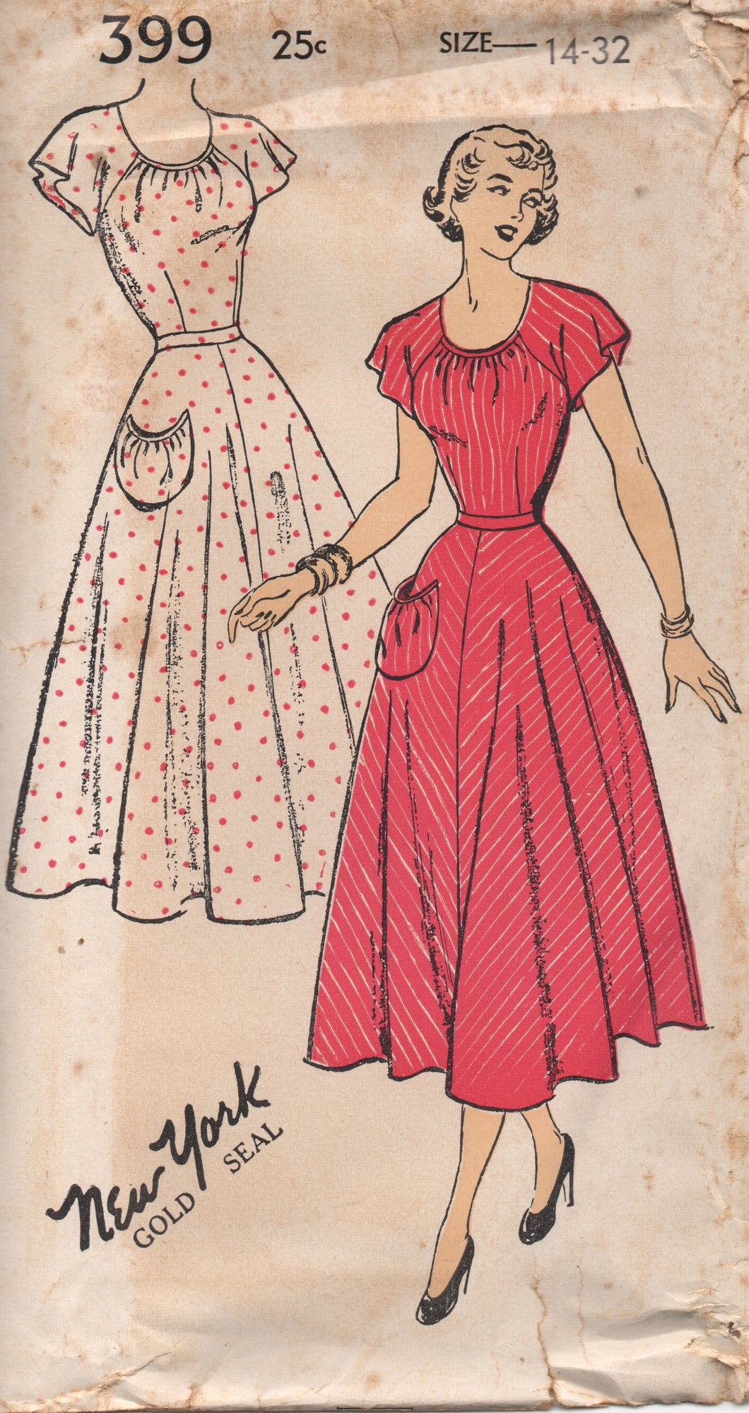 1950's New York One-Piece Dress with Round Neckline and Flutter Sleeves - Bust 32