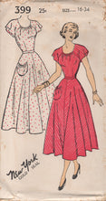 "1950's New York One-Piece Dress with Round Neckline and Flutter Sleeves - Bust 34"" - No. 399"