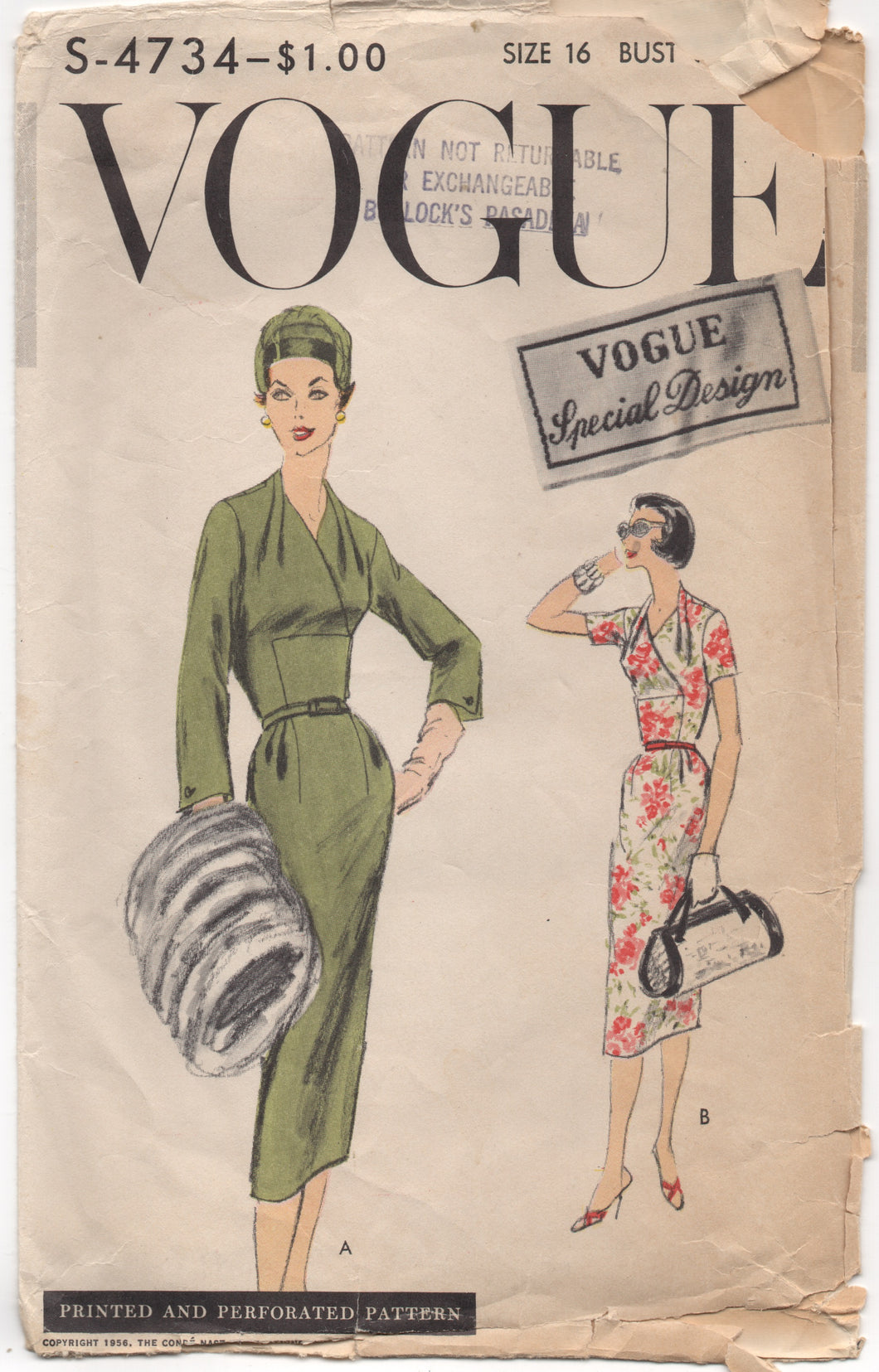 1950's Vogue Special Design One piece Dress with Cross over front - Bust 34