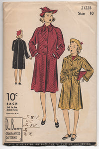 "1940's DuBarry Girl's Box Coat with Convertible Collar and Belt - Breast 28"" - UC/FF - No. 2122B"