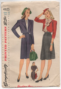 "1940's Simplicity Bolero, Blouse with Bow, and A line Skirt - Bust 33"" - No. 4925"