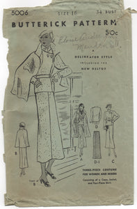 "1930's Butterick Three-Piece Suit with Cape and Button-over Jacket - Bust 34"" - No. 5006"