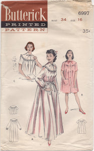 "1950's Butterick Peignoir, short nightgown and bed jacket - Bust 34"" - No. 6997"