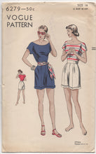 "1940's Vogue Playsuit with Blouse with wide neckline and high waisted Shorts - Bust 32"" - UC/FF - No. 6279"