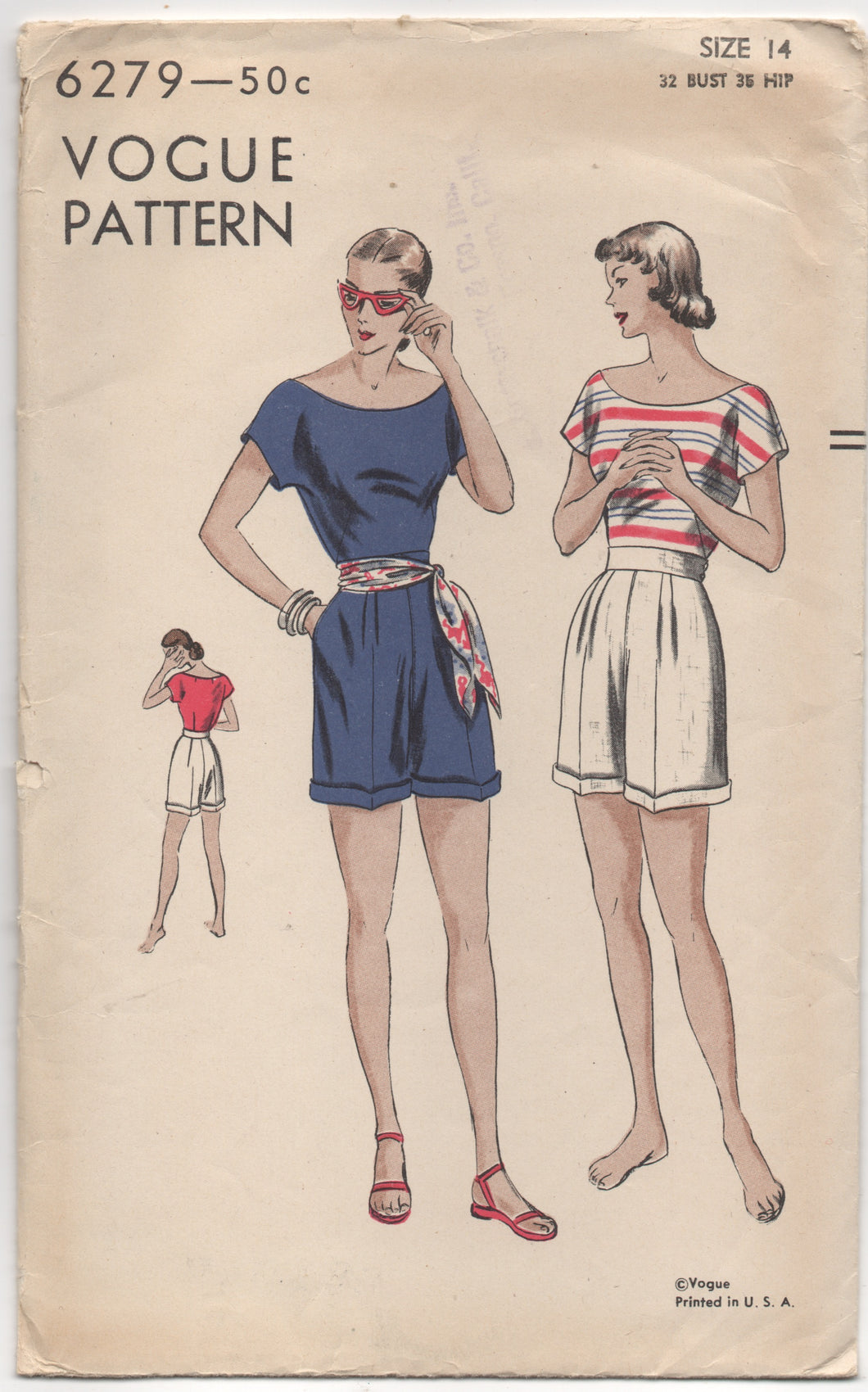 1940's Vogue Playsuit with Blouse with wide neckline and high waisted Shorts - Bust 32