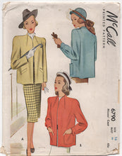 "1940's McCall Neckband Styled Jacket with Two Sleeve Styles - Bust 34"" - No. 6790"