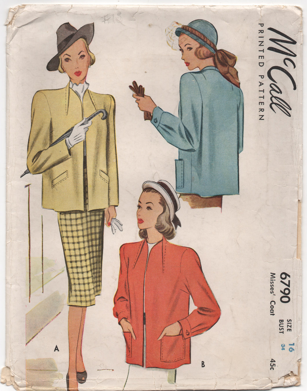 1940's McCall Neckband Styled Jacket with Two Sleeve Styles - Bust 34