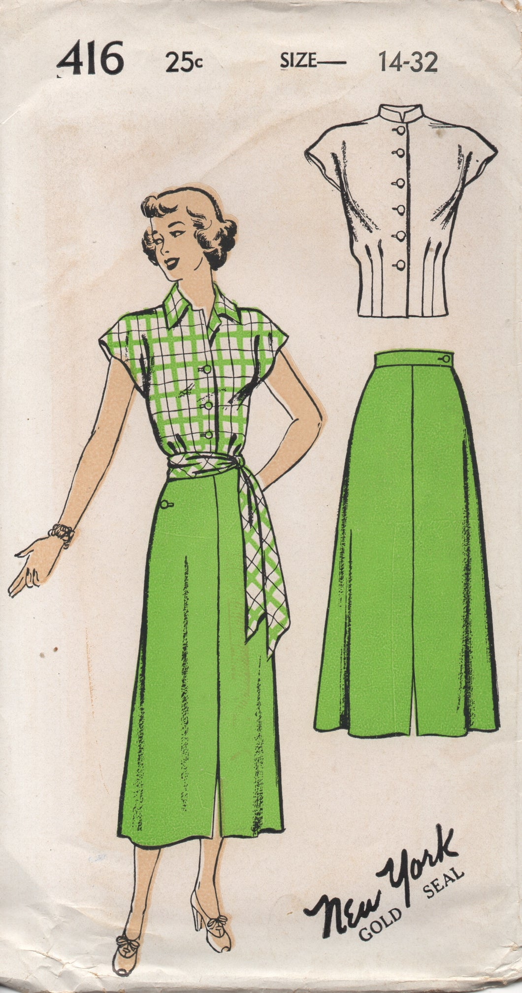 1940's New York Blouse with Drop Shoulders, Tie belt and A line skirt - Bust 32