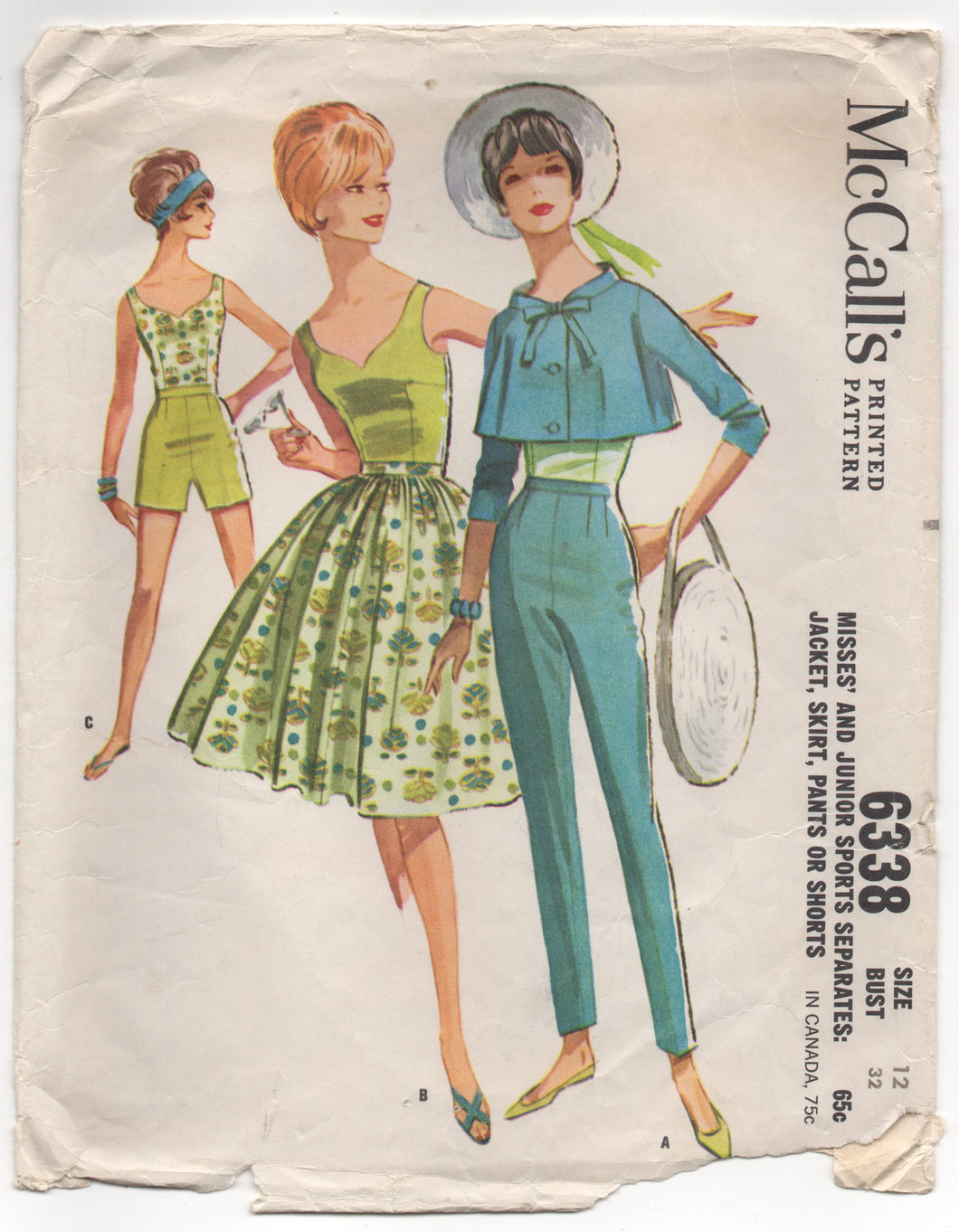 1960's McCall's Jacket, Sweetheart Blouse, and Skirt - Bust 32