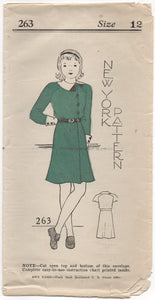 "1930's New York Girl's One Piece Dress with Cross-over front and Two Sleeve lengths - Bust 30"" - No.263"