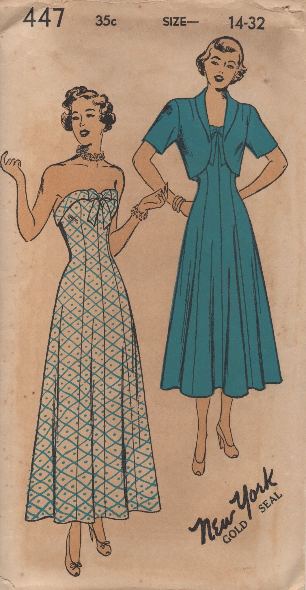 1940's New York Princess Line Strapless Dress and Bolero - Bust 32