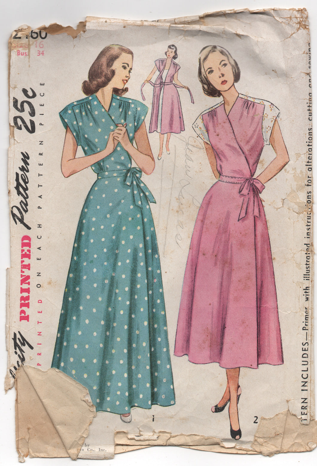 1940's Simplicity Maternity Wrap Housecoat and House Wrap Dress - Bust 34