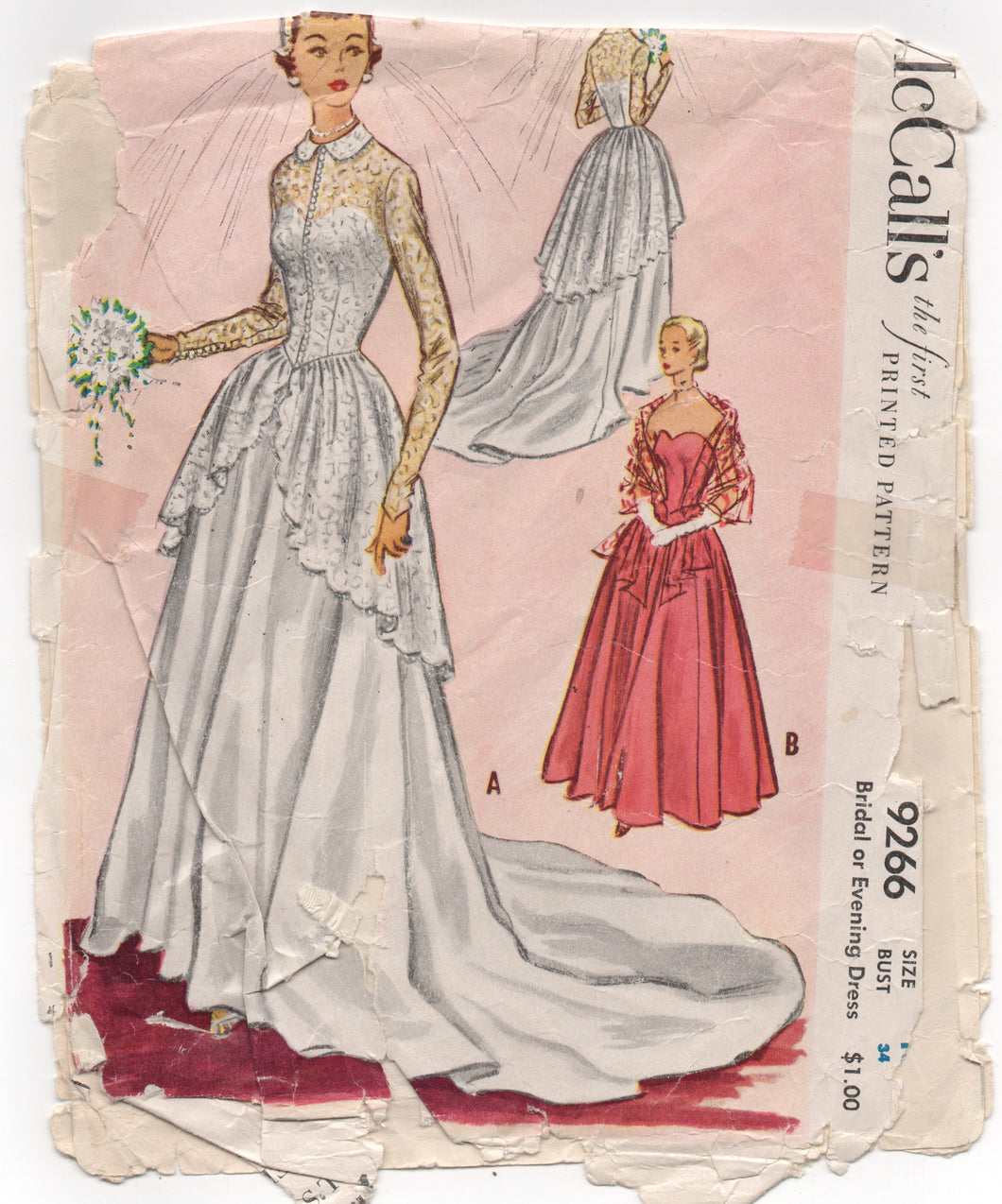 1950's McCall's Bridal or Evening Gown with Jacket with Long Peplum - Bust 34