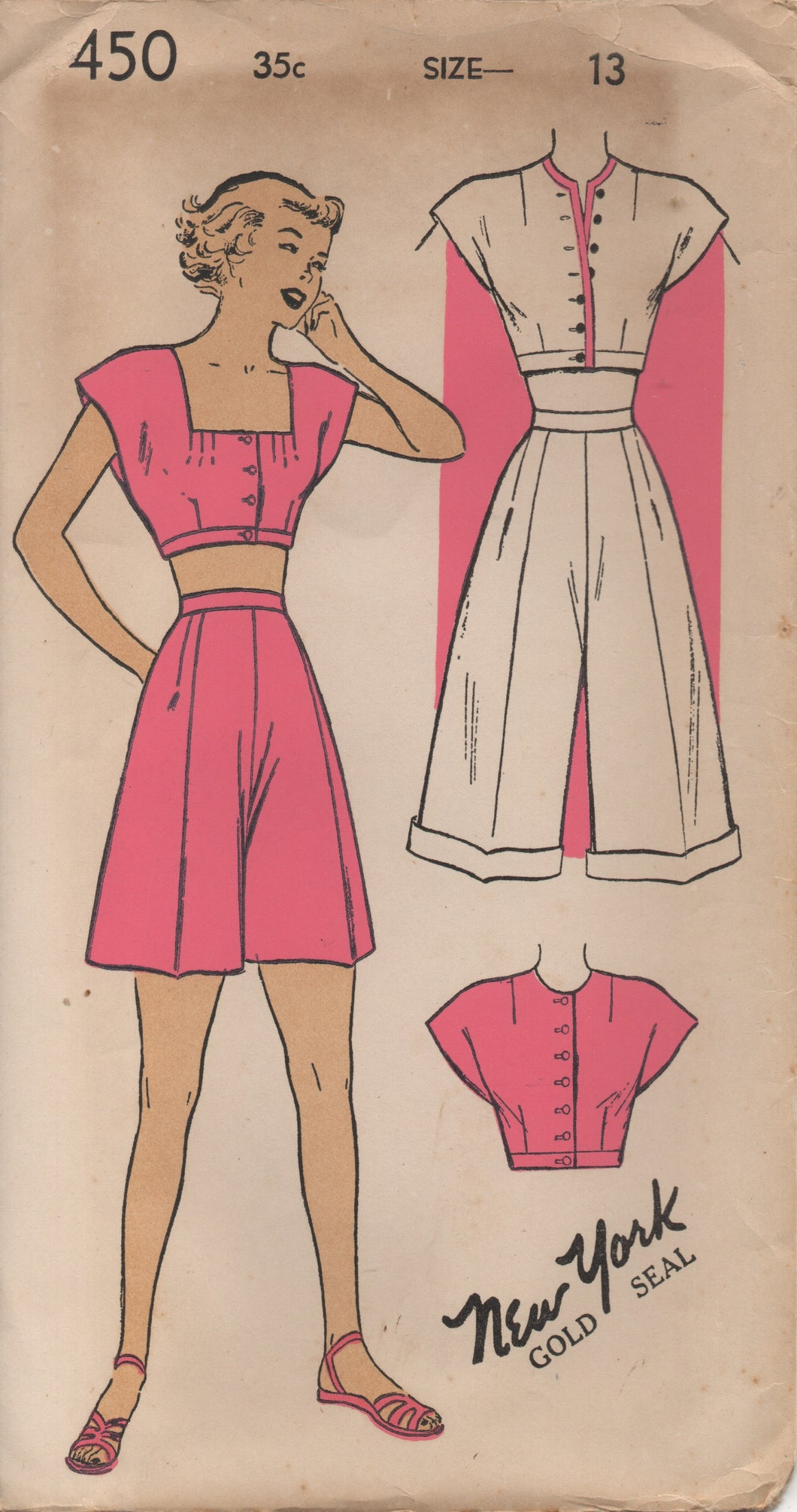 1940's New York  Playsuit with Button-Up Crop Top, Bolero and High Waisted Shorts - Bust 31