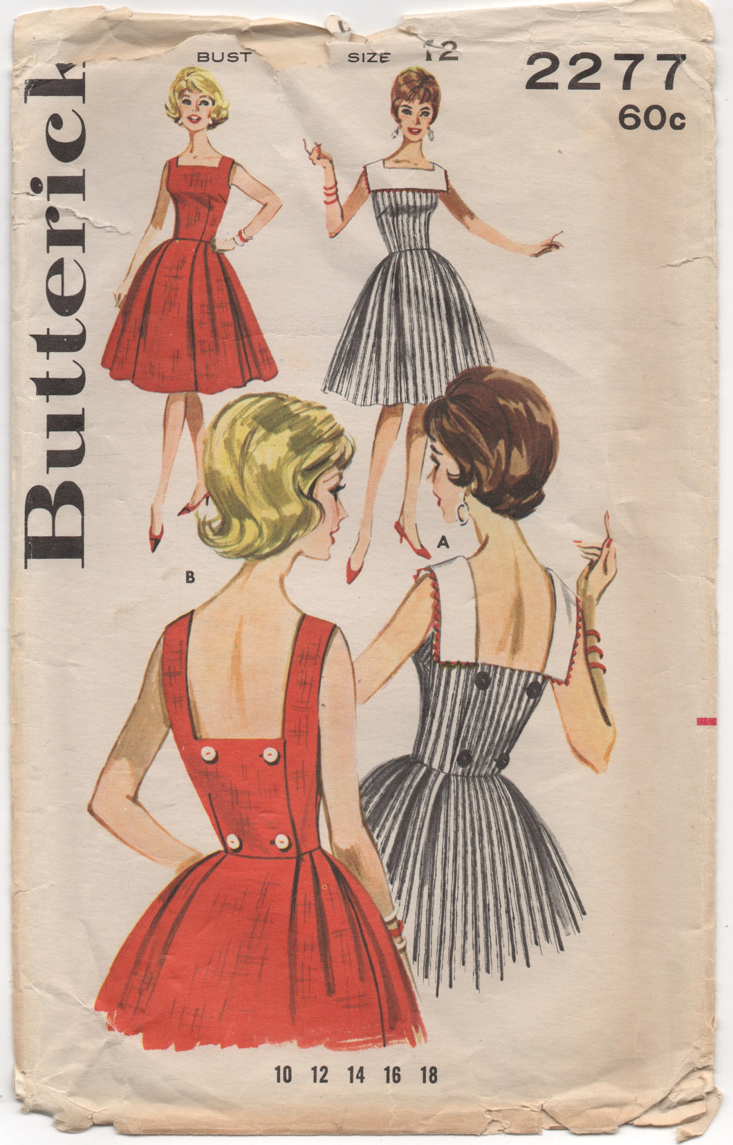 1960's Butterick Back Wrapped Dress with Square Collar - Bust 32