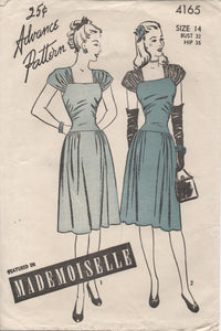 "1940's Advance One Piece Dress with Cap Sleeves, Drop Waist and Side gather Skirt - Bust 32"" - No. 4165"