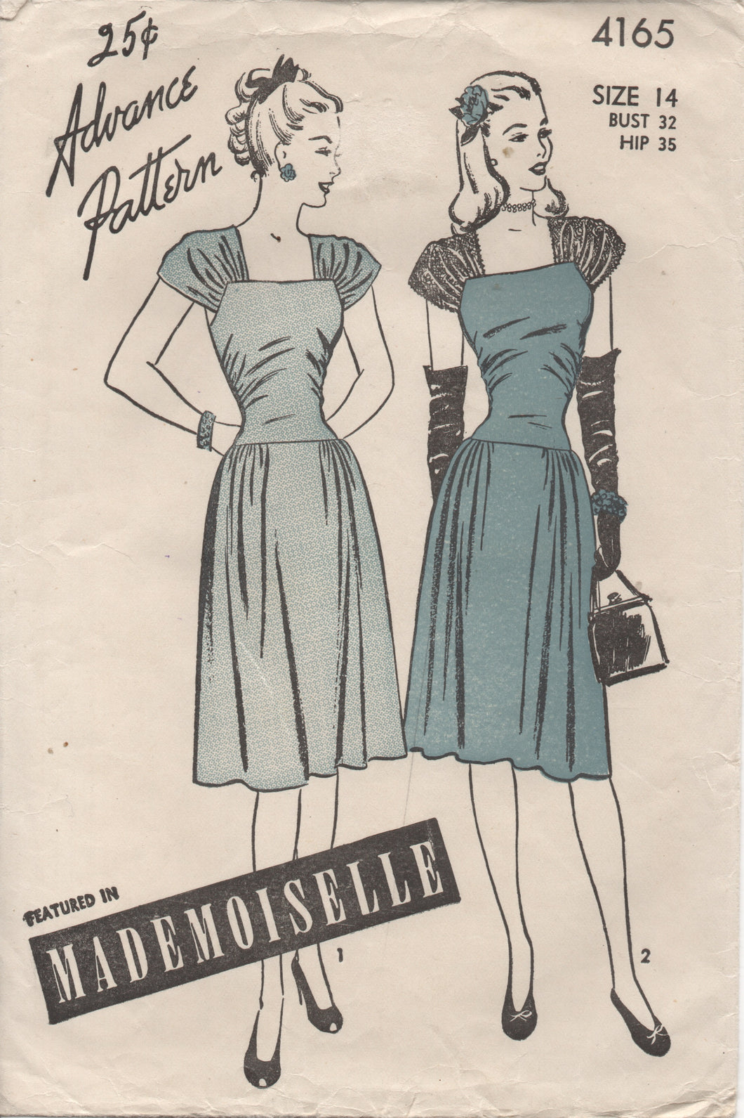 1940's Advance One Piece Dress with Cap Sleeves, Drop Waist and Side gather Skirt - Bust 32