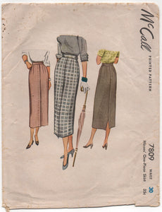 "1940's McCall Slim Skirt with Pleat Detail in front and back - Waist 30"" - No. 7809"