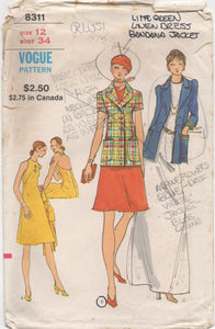 "1970's Vogue Maxi Halter Dress and Jacket - Bust 34"" - No. 8311"