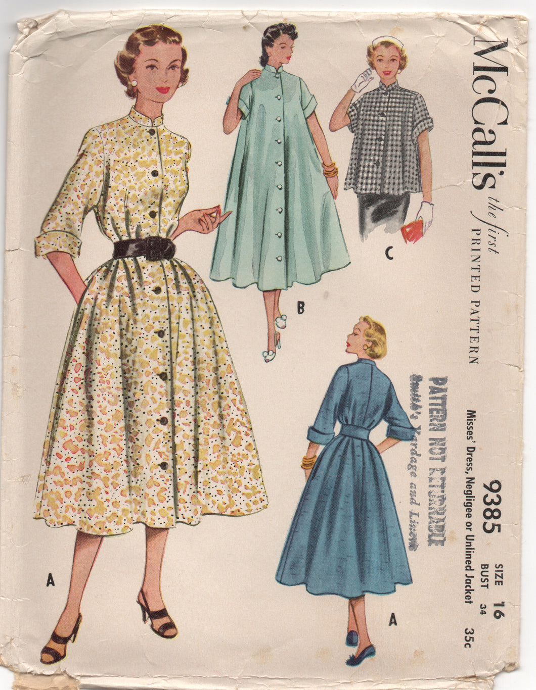 1950's McCall's One Piece Dress, Unlined Jacket or Negligee with Mandarin Collar - Bust 34
