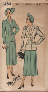 "1940's New York Two-Piece Suit with Jacket with Inset pockets and Pleated Front Skirt Pattern - Bust 34"" - UC/FF - No. 464"