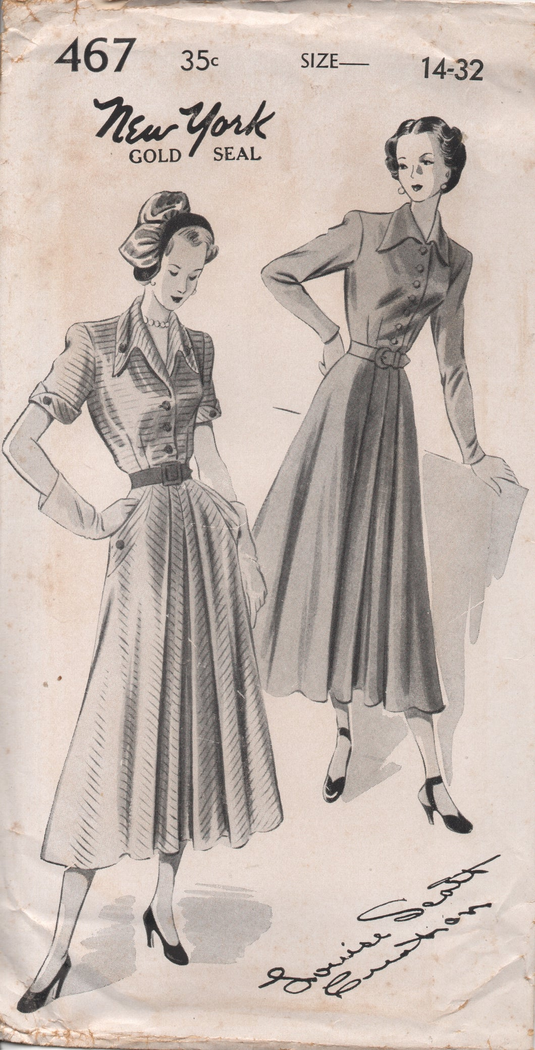 1950's New York by Louise Scott Shirtwaist Dress with Full Front Skirt, Pocket and Draped Collar - Bust 32