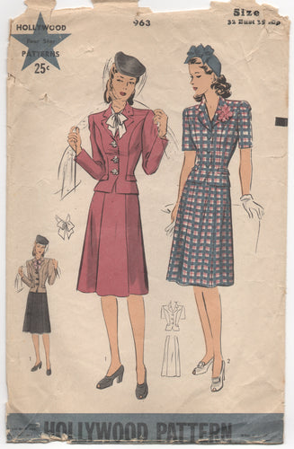 1940's Hollywood Two Piece Suit with Tailored Jacket - Bust 32