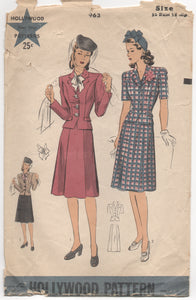 "1940's Hollywood Two Piece Suit with Tailored Jacket - Bust 32"" - No. 963"