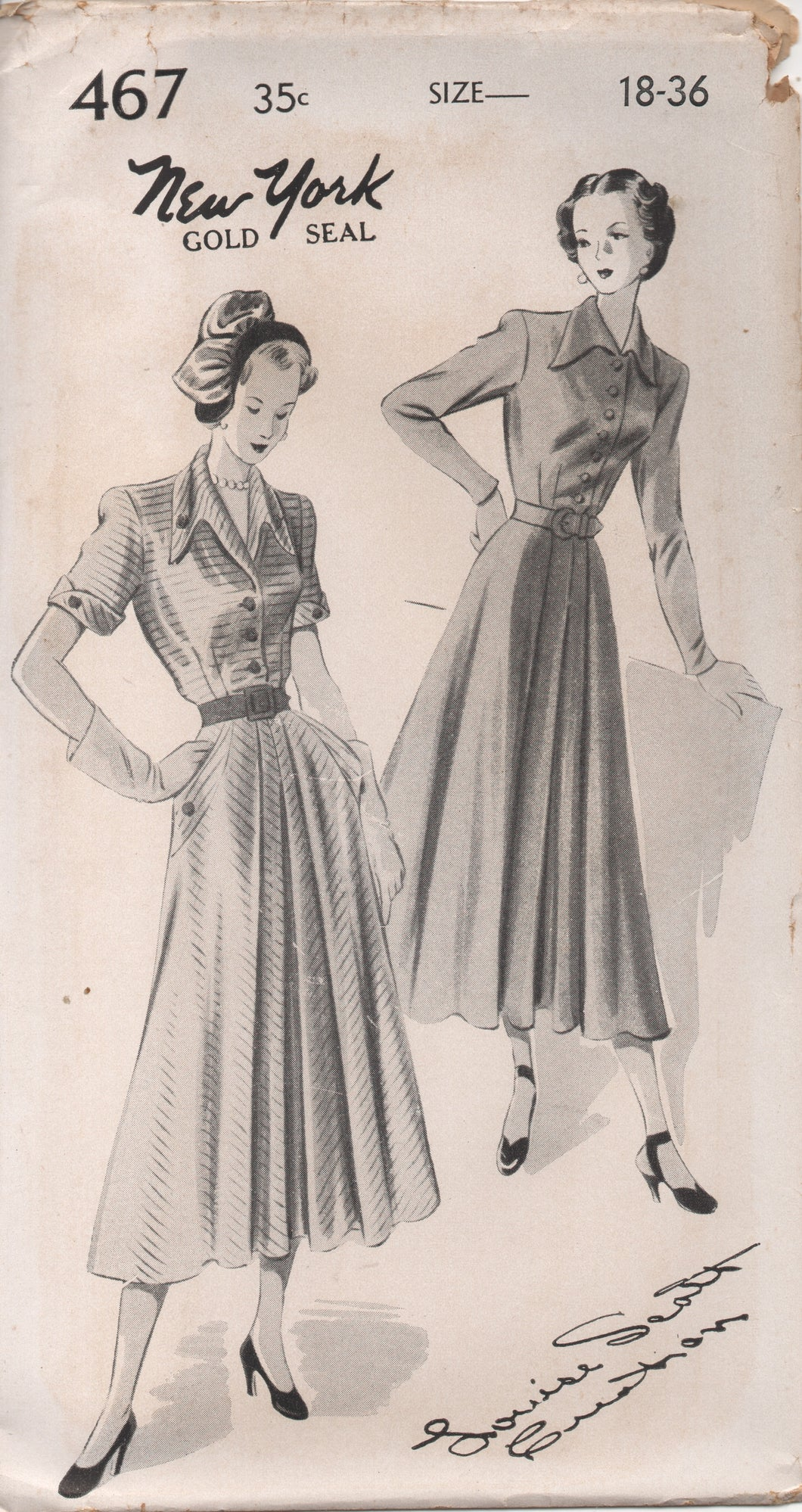 1950's New York by Louise Scott Shirtwaist Dress with Full Front Skirt, Pocket and Draped Collar - Bust 36