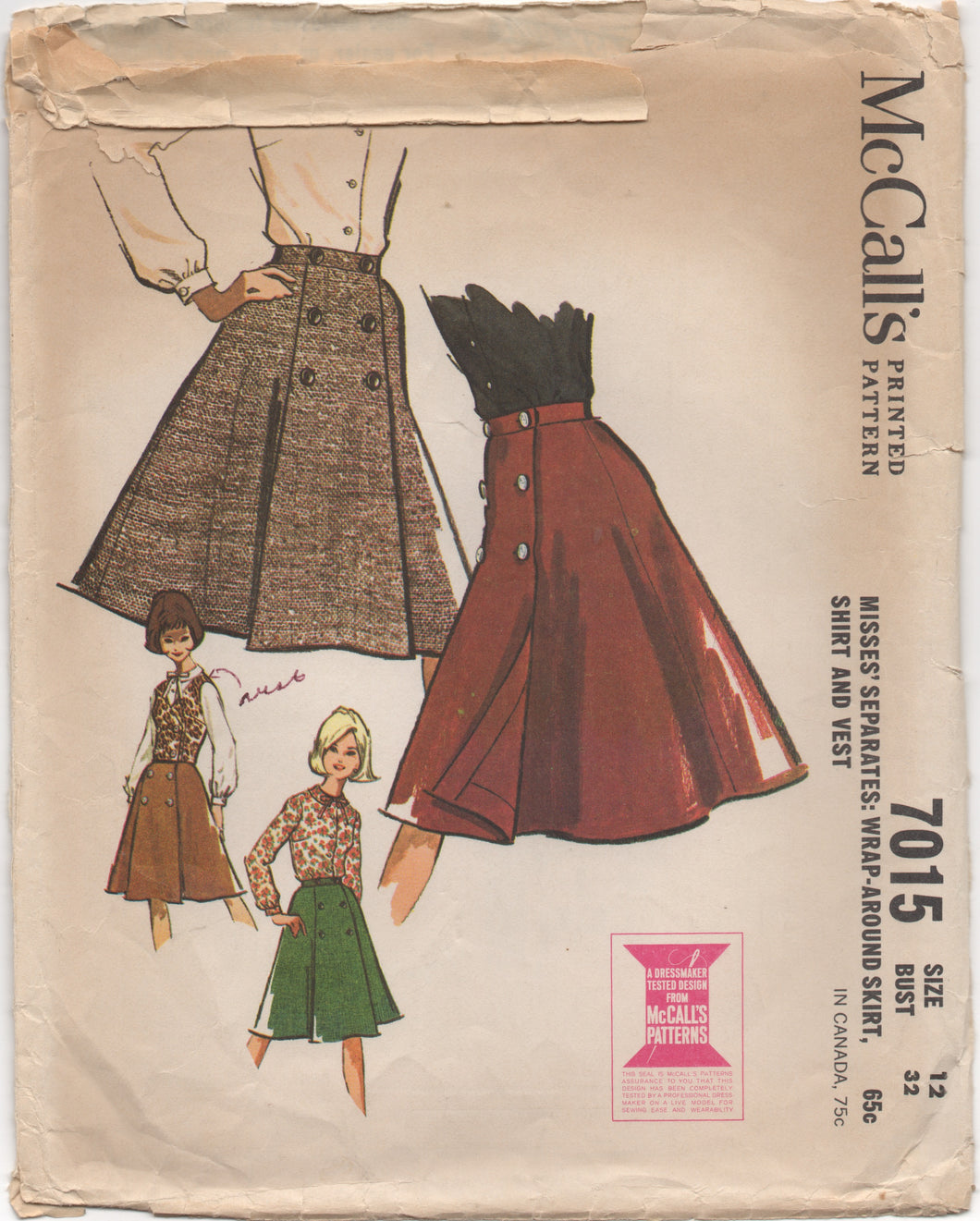 1960's McCall's Wrap Skirt, Blouse and Vest - Bust 32
