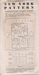 "1950's New York by Louise Scott Shirtwaist Dress with Full Front Skirt, Pocket and Draped Collar - Bust 36"" - No. 467"