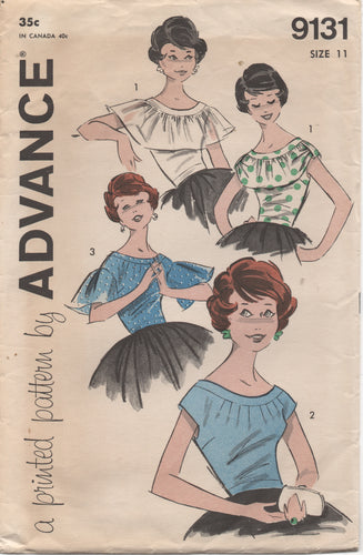 1950's Advance Blouse with Large Collar or Sleeves - Bust 31.5