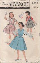"1950's Advance Girl's Surplice Button Up Dress and Blouse - Breast 30"" - No. 8222"