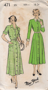 "1940's New York One Piece Dress Button up front, Double Collar and Pockets - Bust 34"" - UC/FF - No. 471"