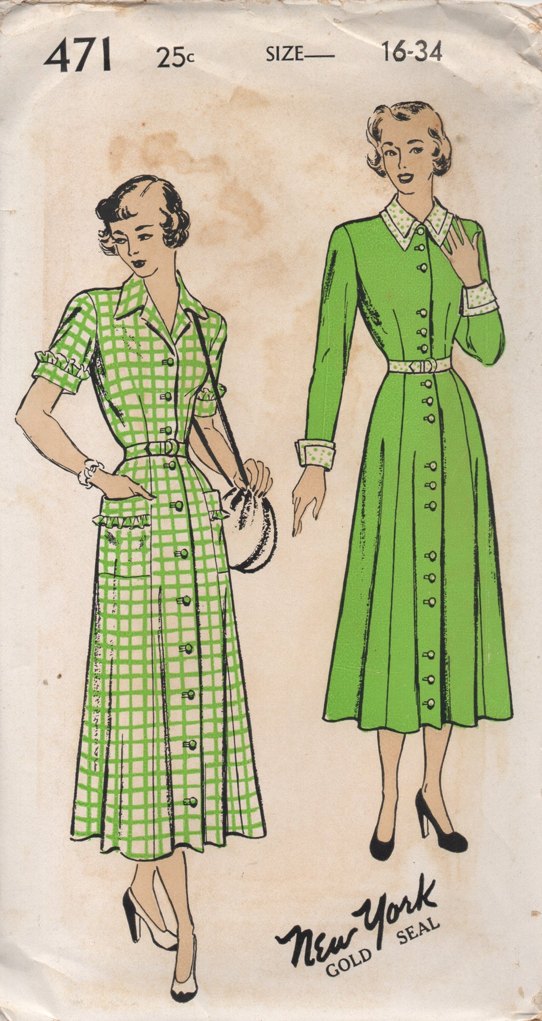 1940's New York One Piece Dress Button up front, Double Collar and Pockets - Bust 34