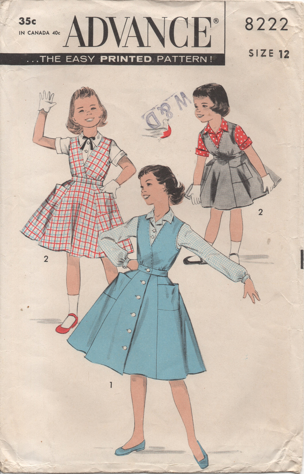 1950's Advance Girl's Surplice Button Up Dress and Blouse - Breast 30